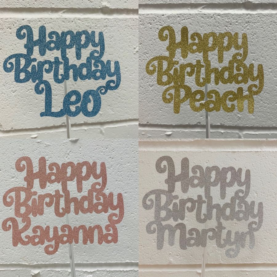 Happy Birthday Name glitter cake card topper