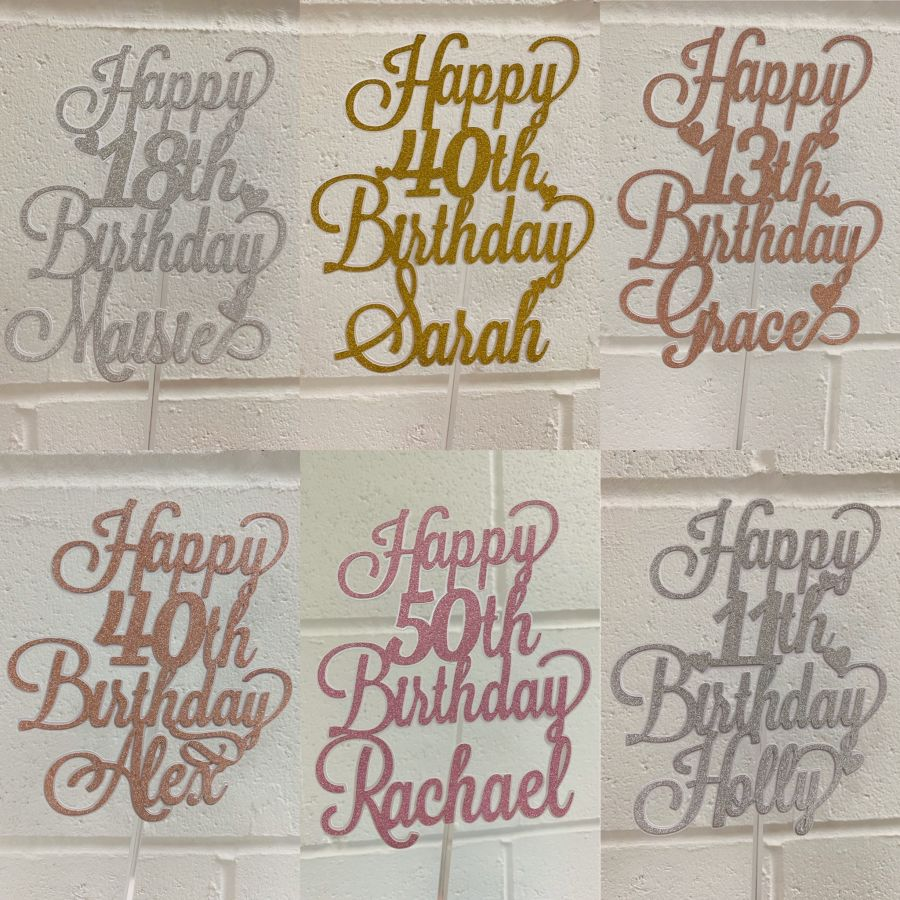 Happy Birthday Name Age glitter cake card topper