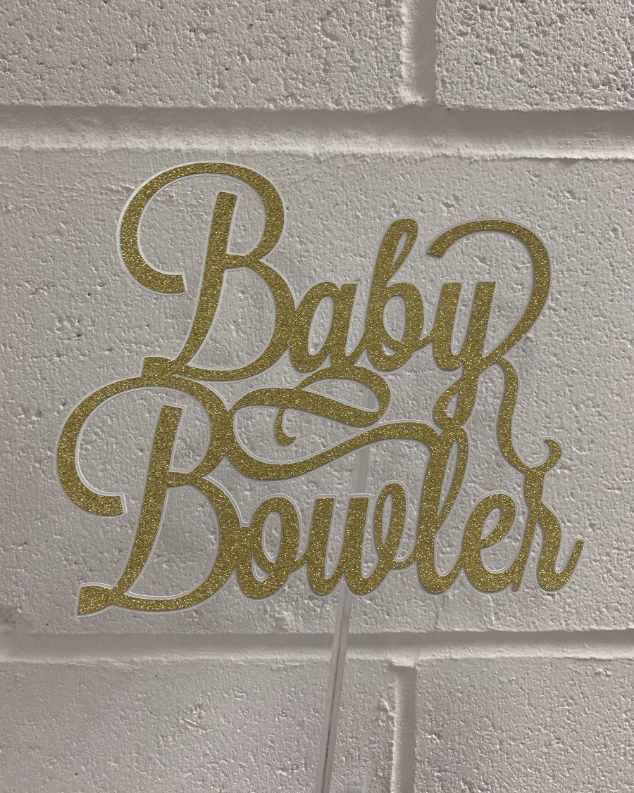 Baby Name Shower Christening Glitter Card Cake Topper