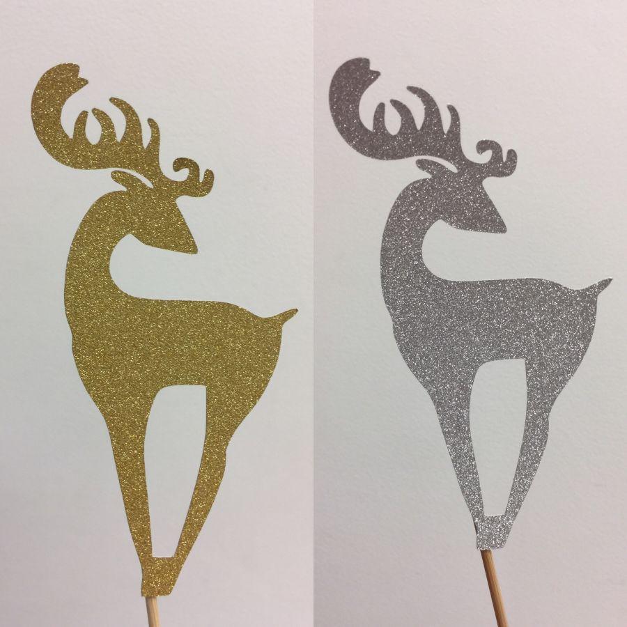 Christmas Reindeer Glitter Card Cake Topper Silver gold