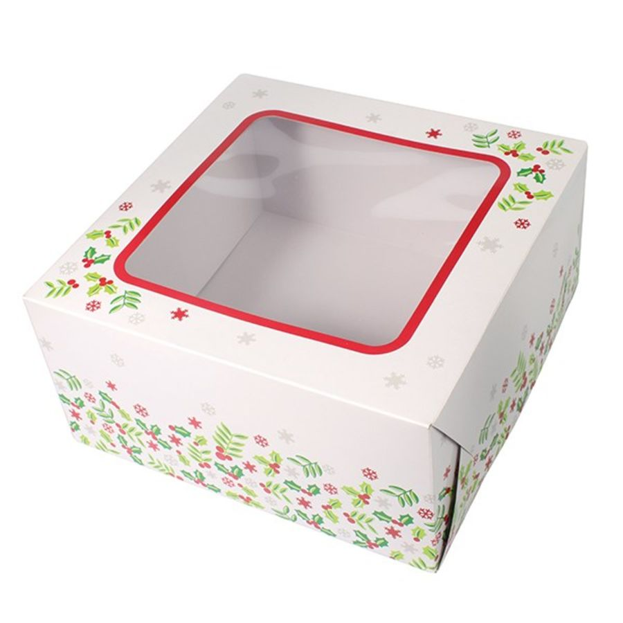 Christmas Holly Square Cake Box 10 x 10 x 5 window