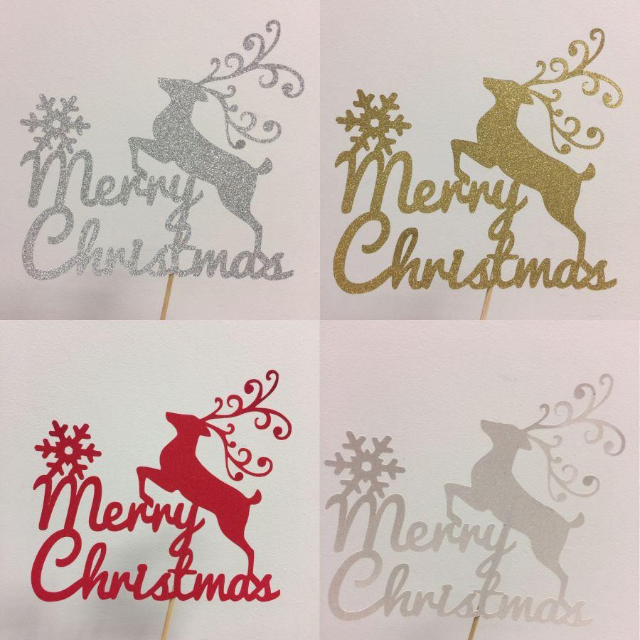 Merry Christmas Reindeer & Snowflake Glitter Card Cake Topper