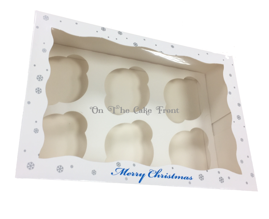 Merry Christmas Cupcake box Holds 6 snowflake & Baubles