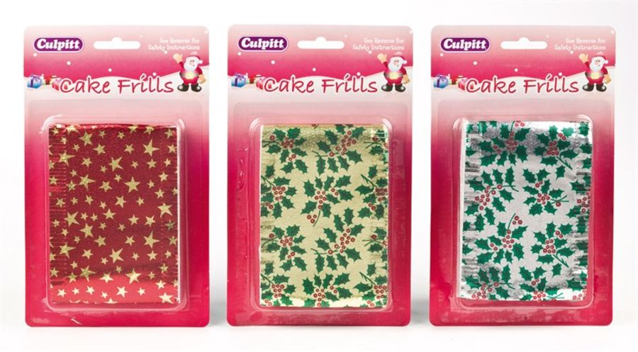 Metallic Print Christmas Cake Frills - 83 x 914mm