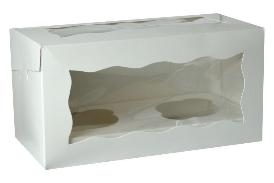 White Cupcake Box holds 2 cakes window & insert