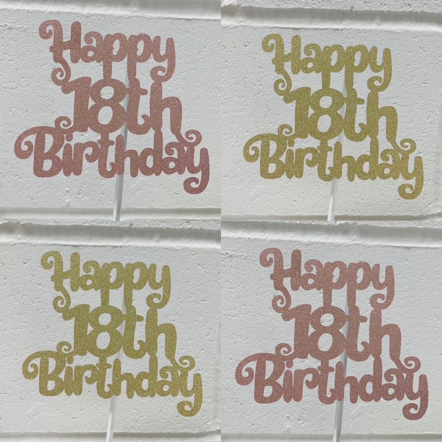 Happy 18th Birthday Glitter Card Cake Topper