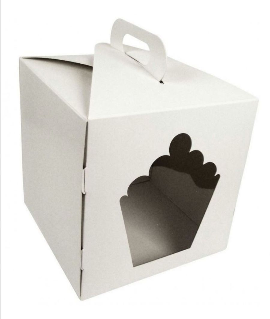 Giant Cupcake Glossy White cake box 10 x 10 x 10 window