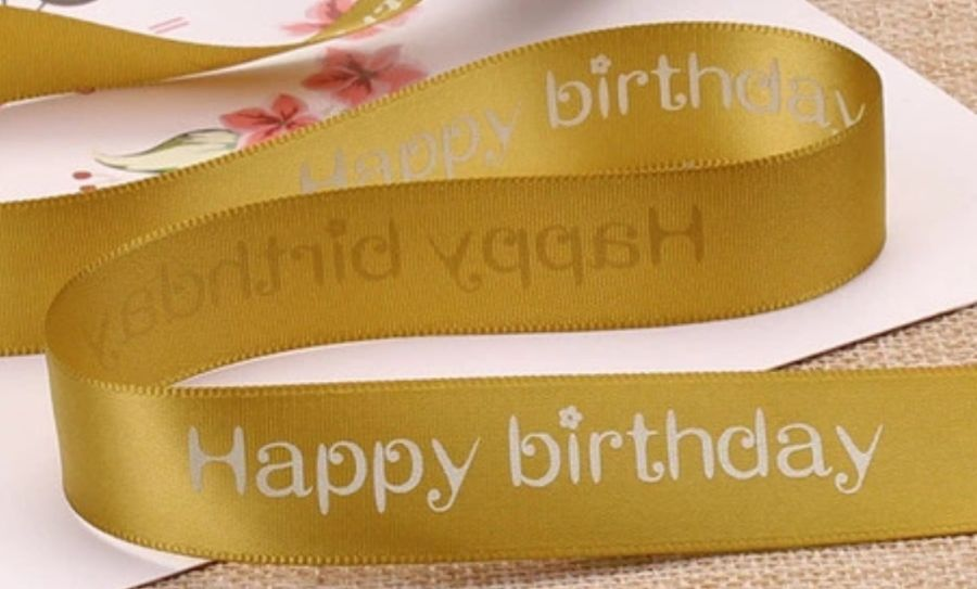 ** Happy Birthday Ribbon with Diamante Font 1m x 40mm Wide