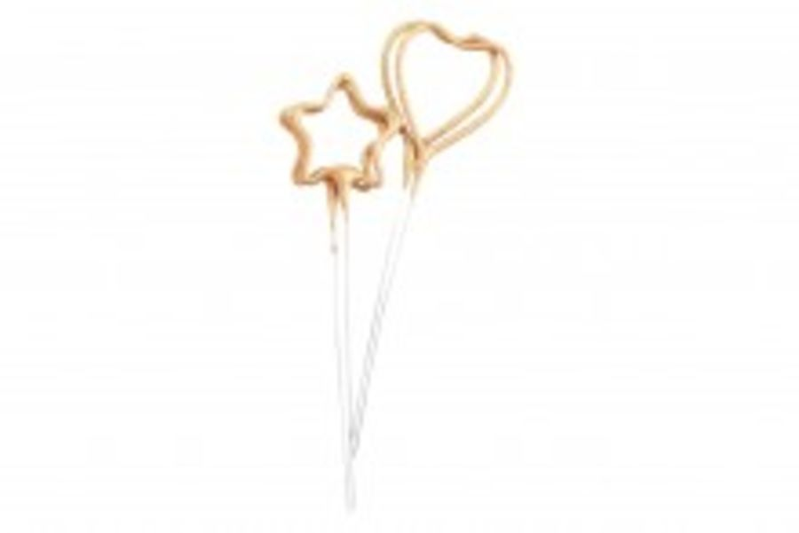 4 Sparkler Candles heart and stars Birthday cake decorations
