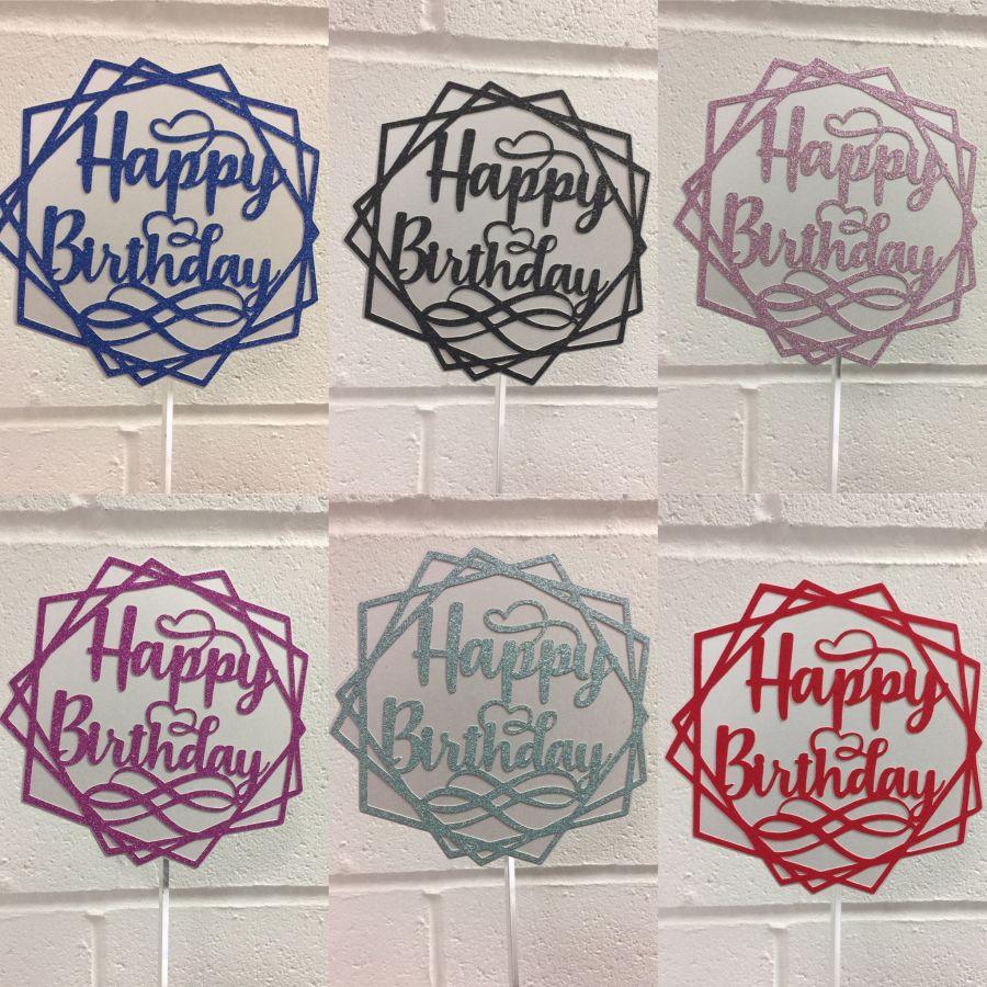 Happy Birthday cake topper glitter multi shaped 5.5 inch