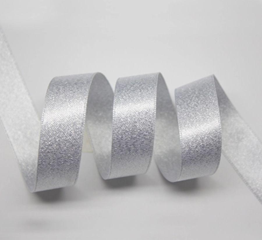 1M White Pearl Satin 13mm Glitter Ribbon