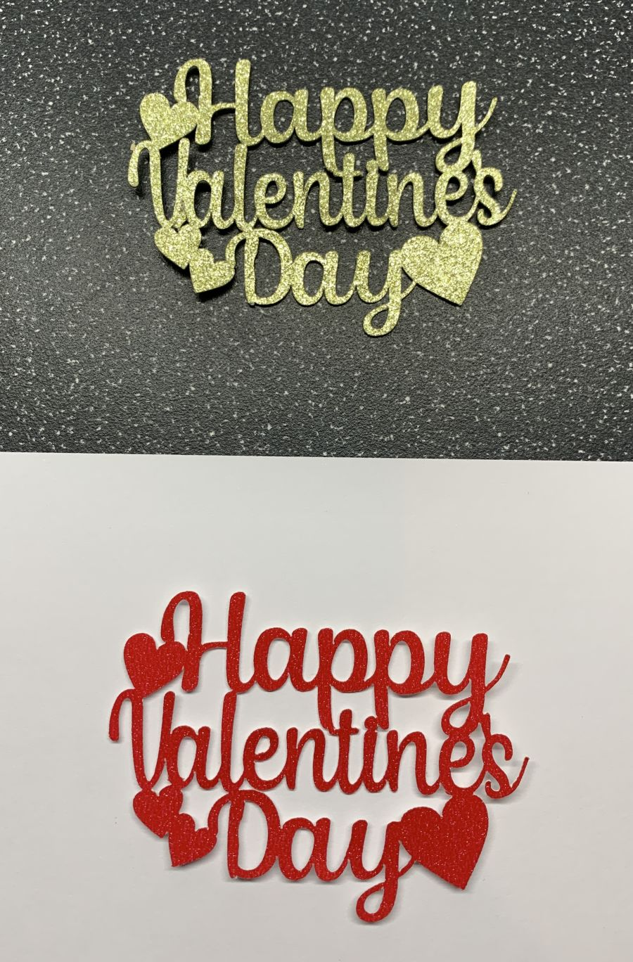 Happy Valentines Day Cupcake Toppers Glitter Card 6 Set