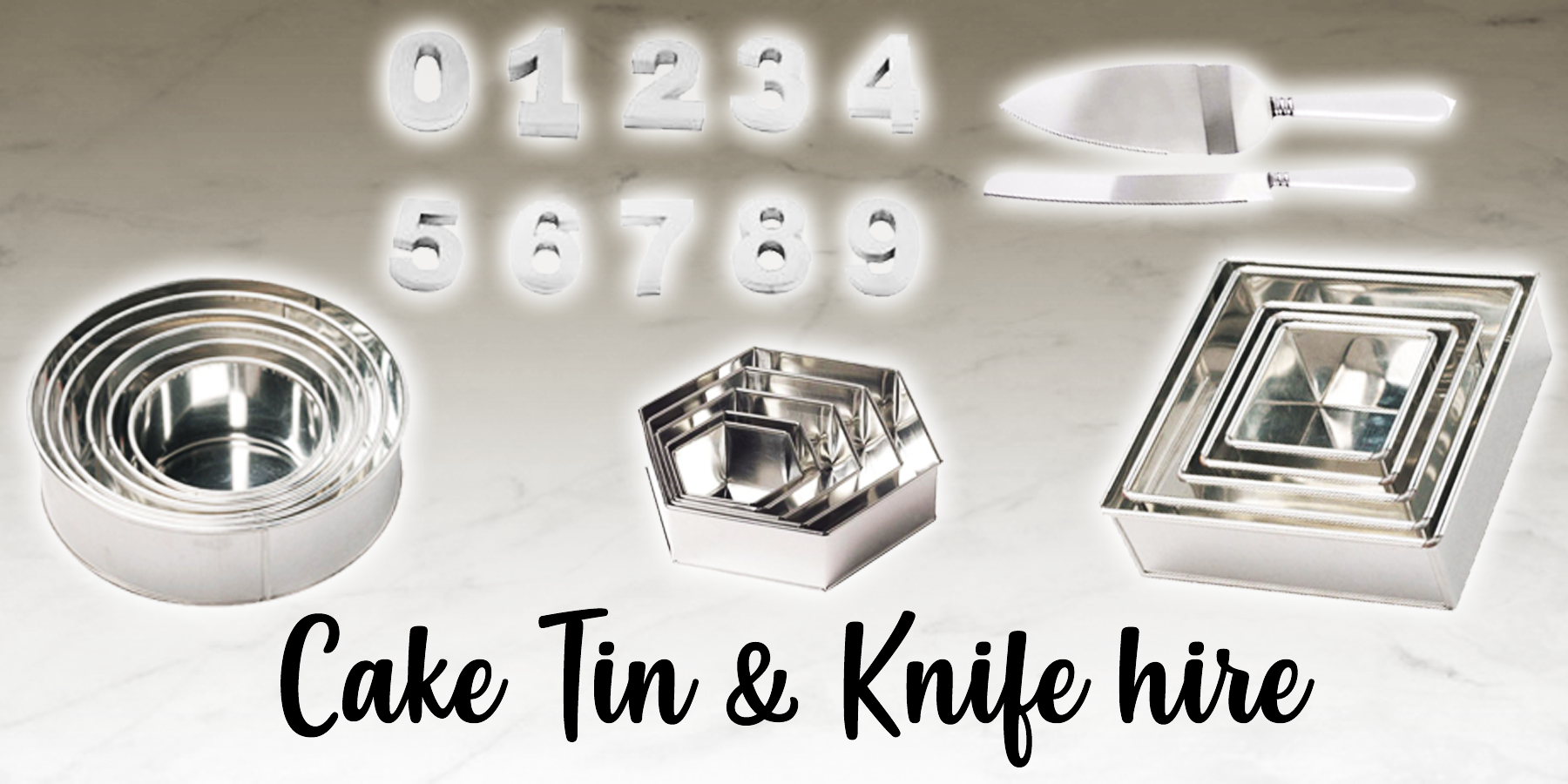 Cake tin hire and knife hire available in our Braintree shop