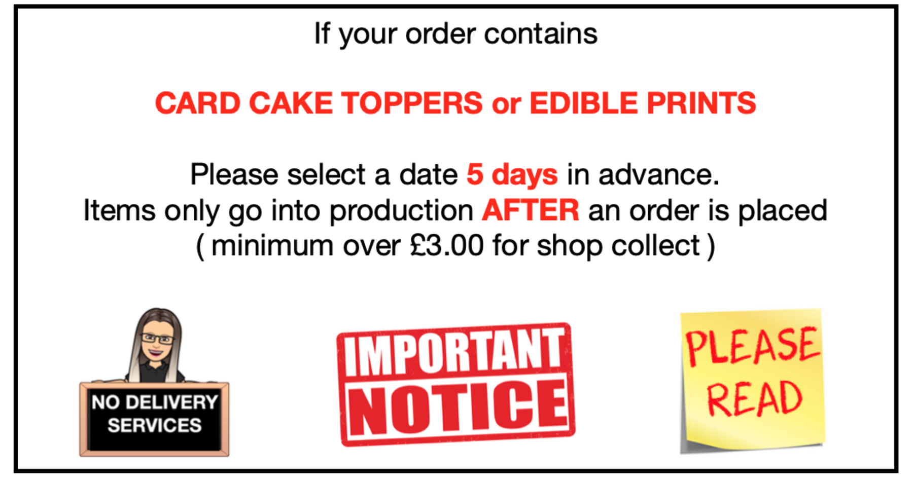 Pre ordering of card toppers or edible prints info