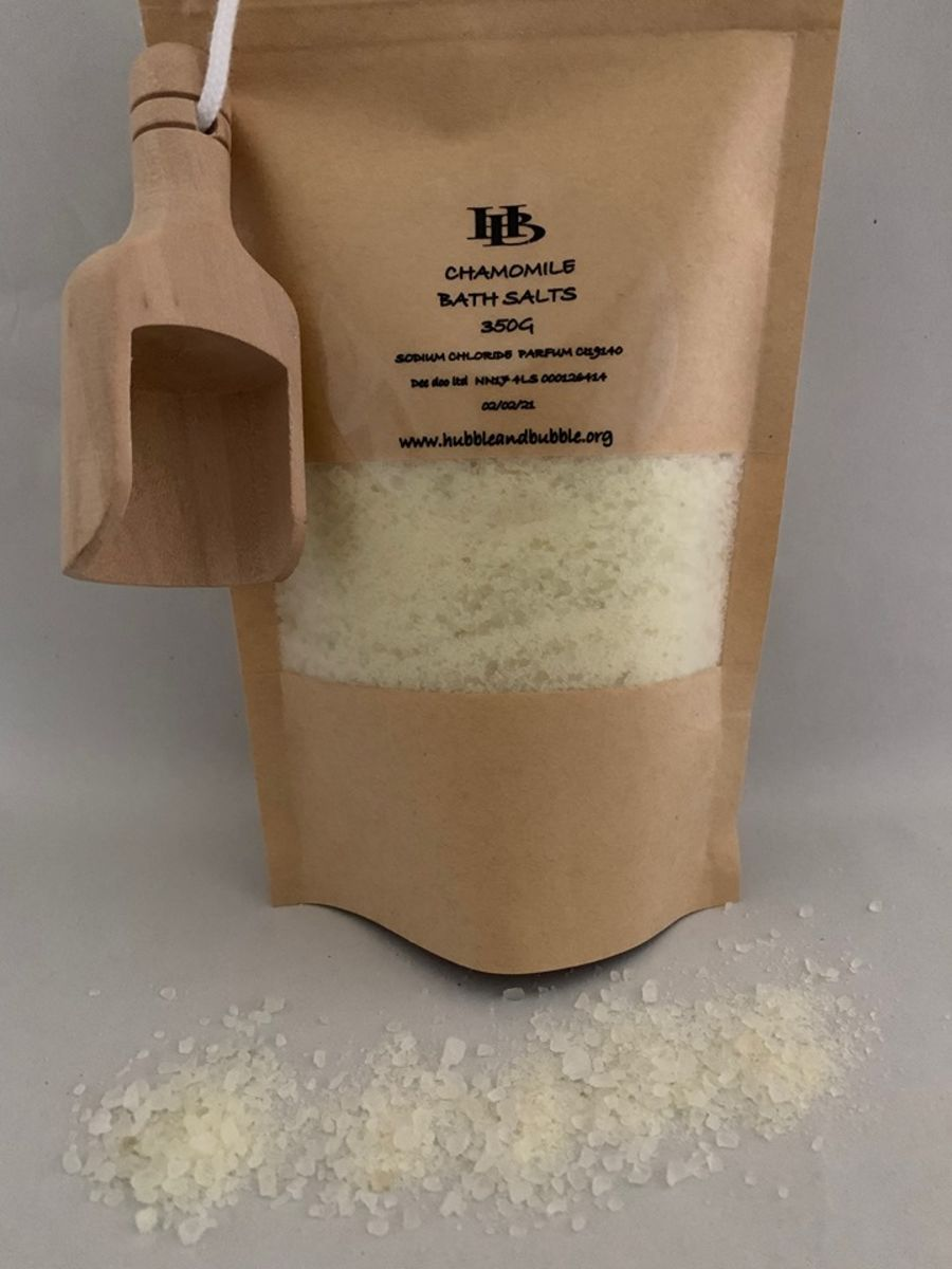 CHAMOMILE BATH SALTS WITH  WOODEN SCOOP 350G