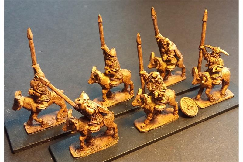 Dwarian Ram Cavalry with Spear and Shields (16 figures)