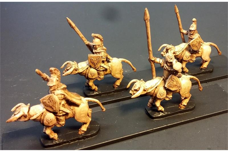 Legian Cavalry with Spears & Shields on Lightly Armored Bulls (16 figures)
