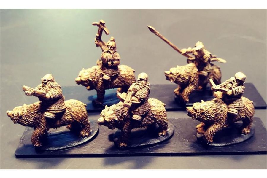 Dwarian Cavalry with Crossbows on Bears (16 figures)