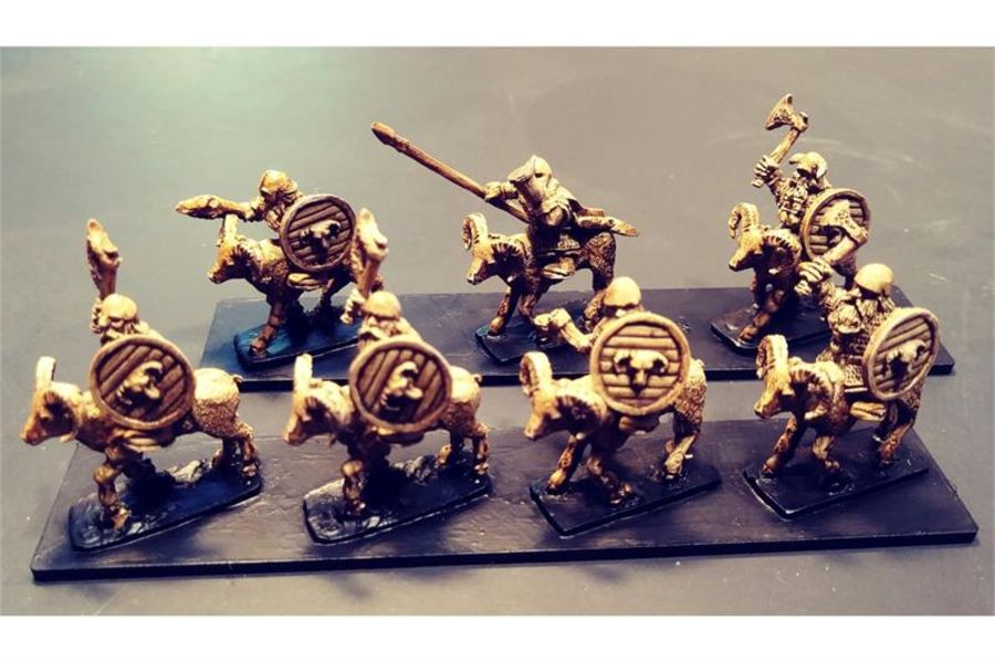 Dwarian Ram Cavalry with Axes and Shields (16 figures)