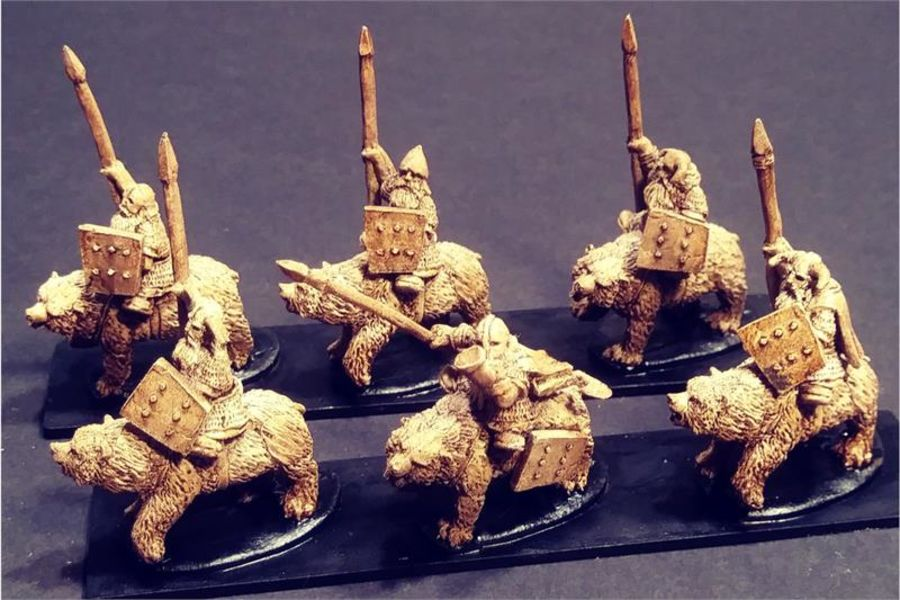 Dwarian Bear Cavalry with Spears and Shields (16 figures)