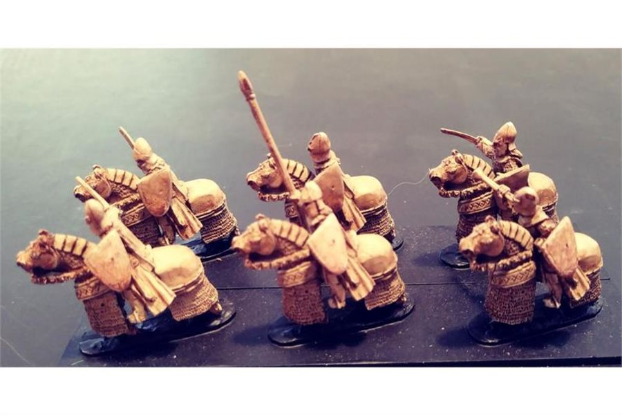 Elvian Cavalry with Swords & Shields & Heavily Armored Horse (16 figures)