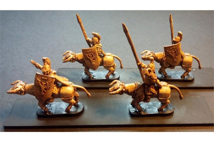 Legian Cavalry with Spears & Shields on Heavily Armored Bulls (16 figures)