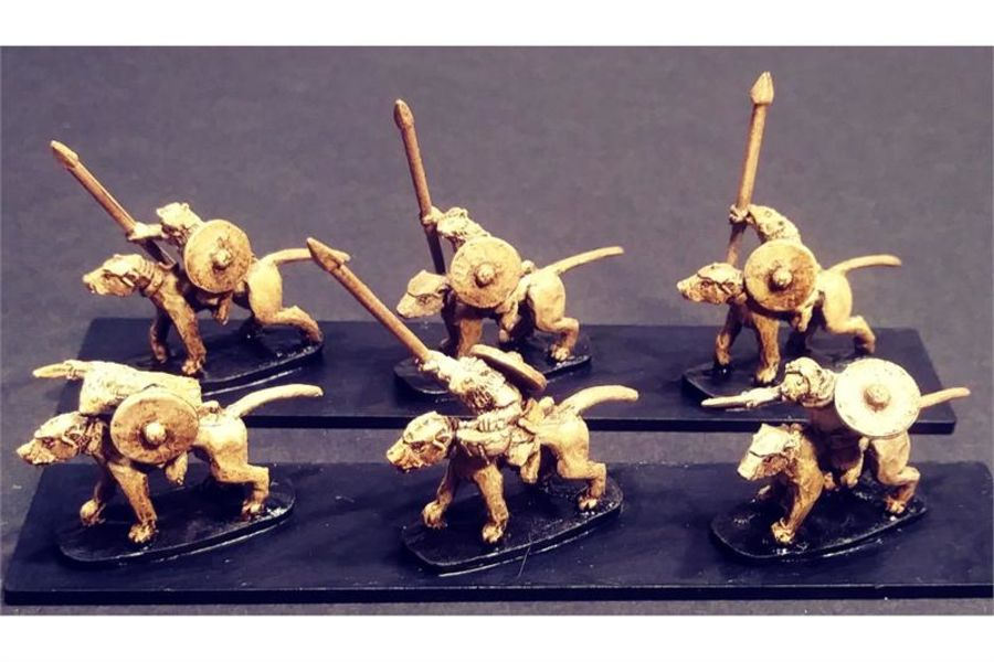 Vermian Cavalry Spears and Shields on Lightly Armored Ratweillers (16 figures)