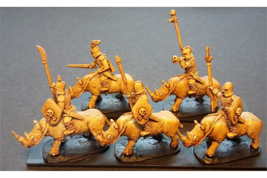 Hellian Cavalry with Spears and Shields on Unarmored Rhinos (16 figures)