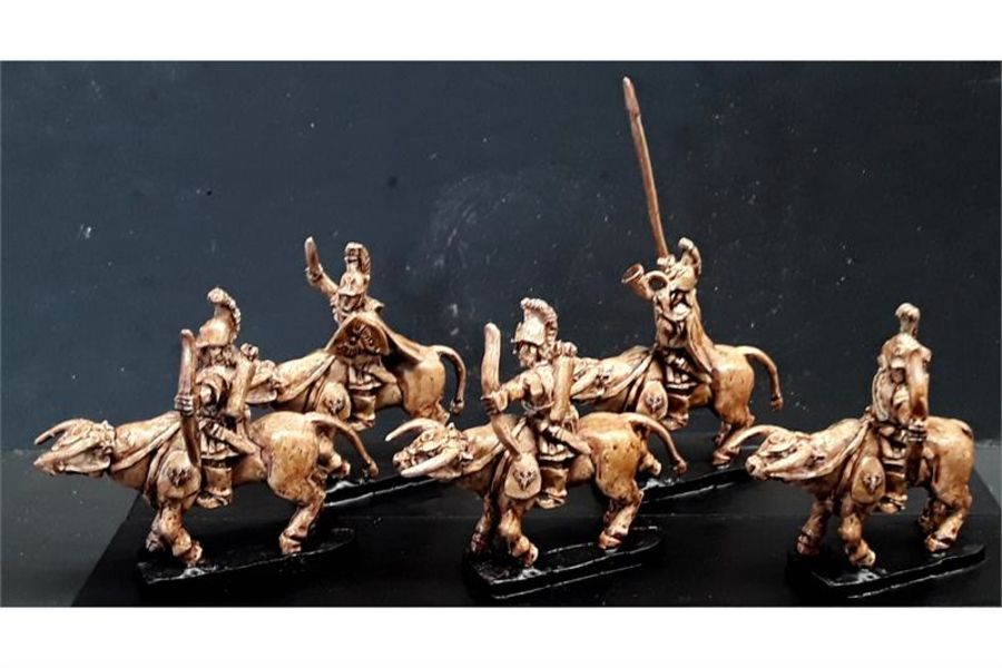 Legian Cavalry with Swords & Shields on Heavily Armored Bulls (16 figures)