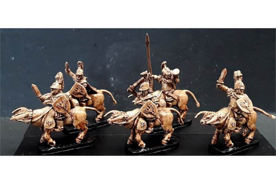 Legian Cavalry with Swords & Shields on Lightly Armored Bulls (16 figures)