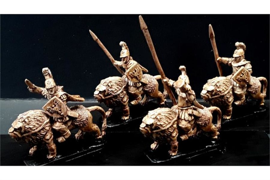 Legian Cavalry with Spears & Shields on Armored Lions (16 figures)