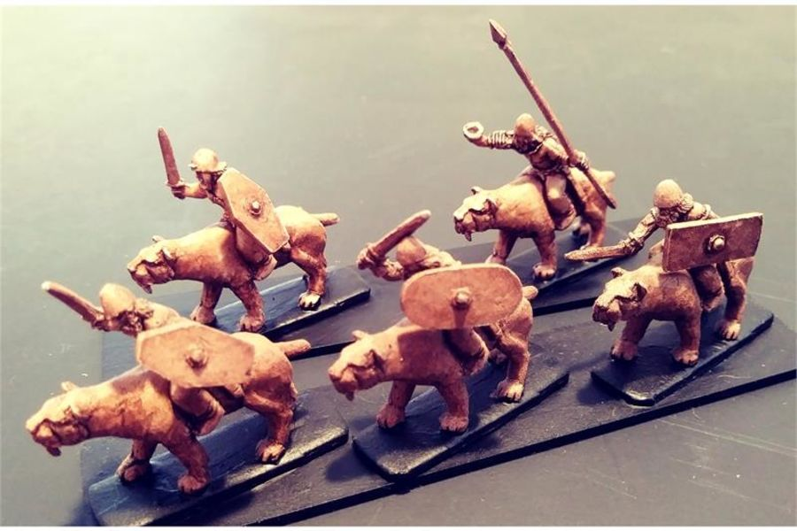 Barbarian Cavalry with Swords & Shields on Sabre Tooths (16 figures)