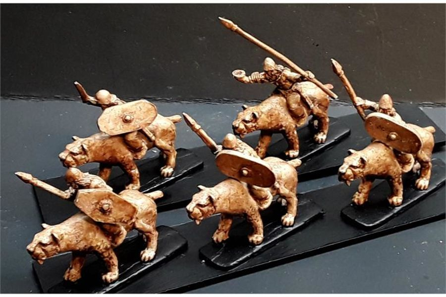Barbarian Cavalry with Spears & Shields on Sabre Tooths (16 figures)