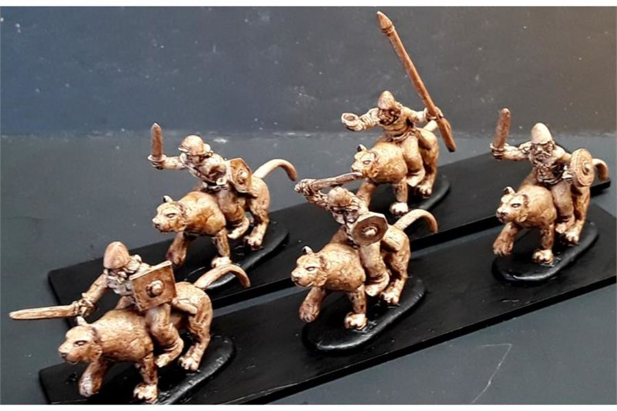 Barbarian Cavalry with Swords & Shields on Mountain Lions (16 figures)