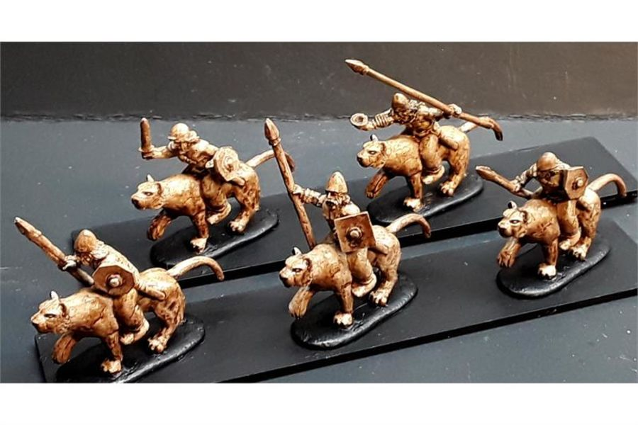Barbarian Cavalry with Spears & Shields on Mountain Lions (16 figures)