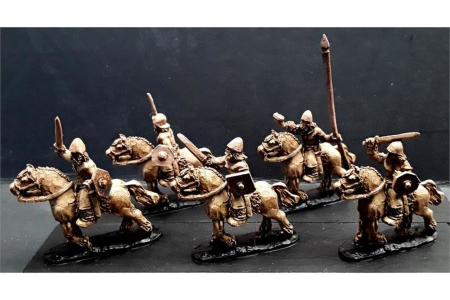 Barbarian Cavalry with Swords & Shields on Horses (16 figures)