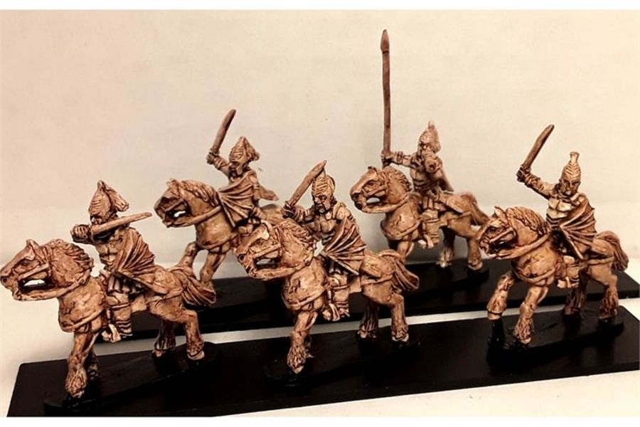 Vampirian Cavalry with Sword & Shield on Unarmored Horses (16 figures)