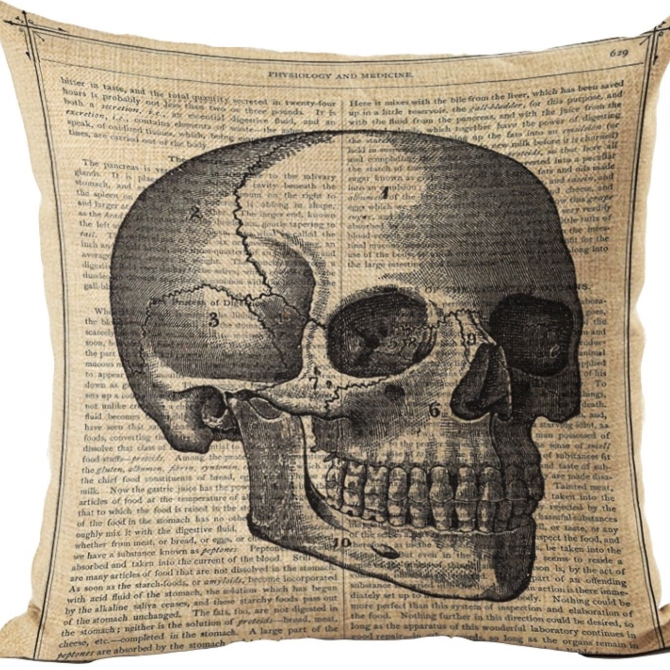 Skull motif Cotton Linen cushion cover