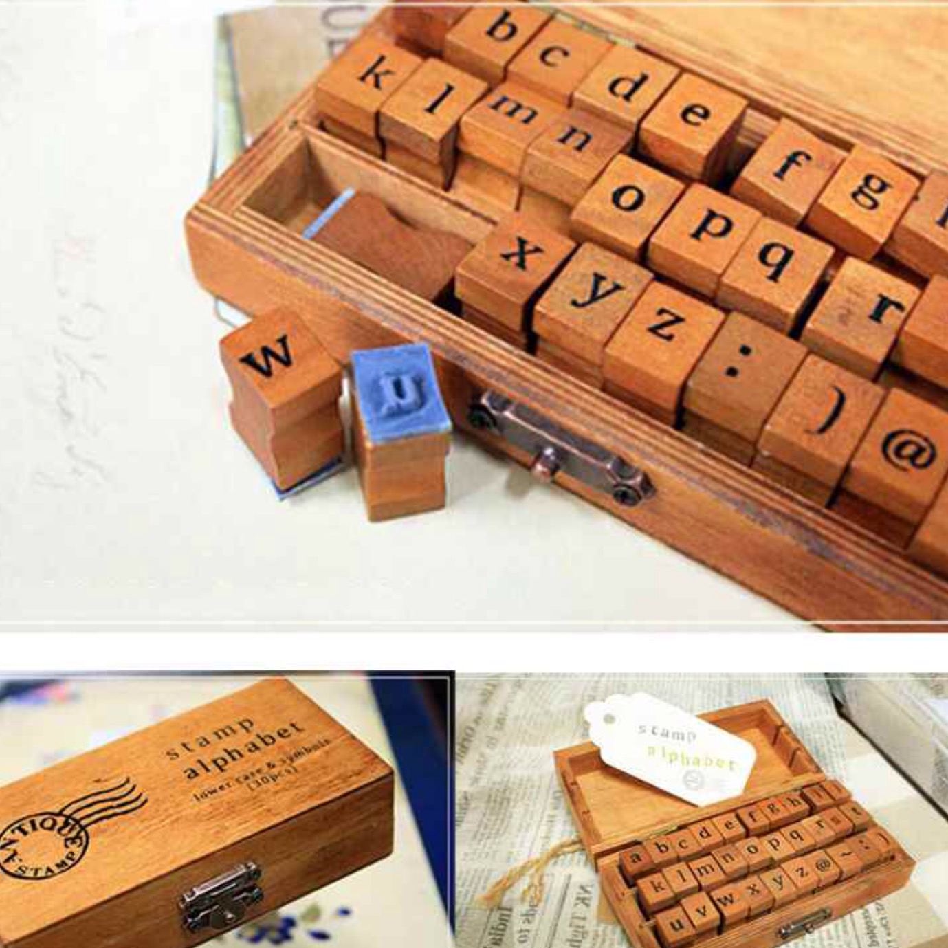 Lower case wooden printing set