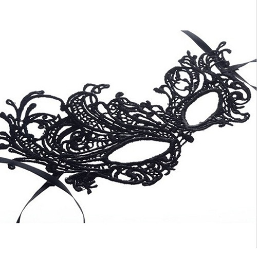 Black lace Venetian mask