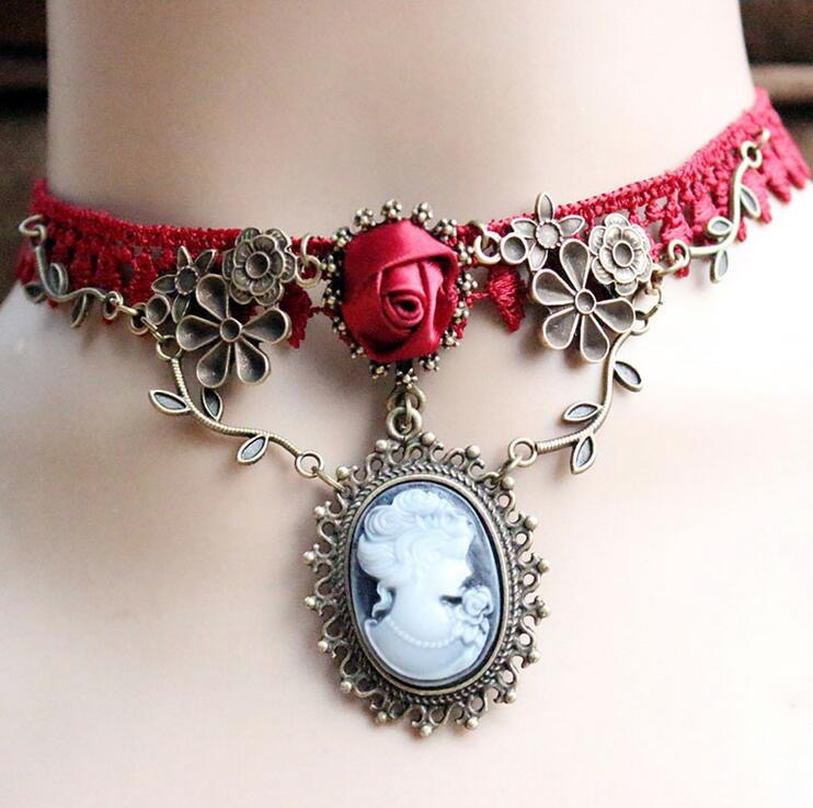 Red rose cameo choker
