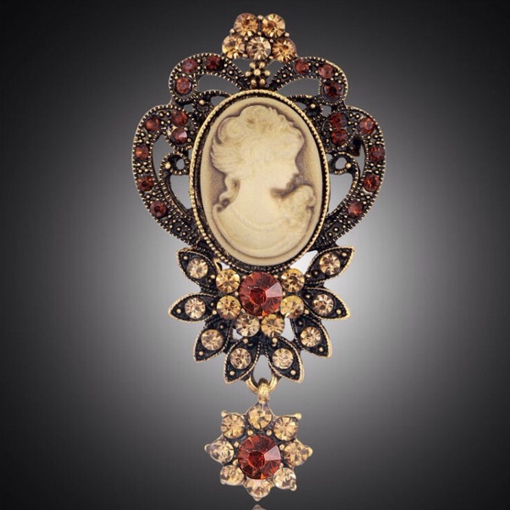 Ornate cameo brooch