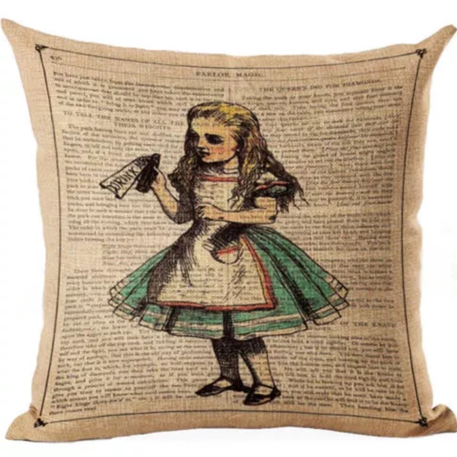 Alice in Wonderland – Drink Me – Cotton Linen cushion cover