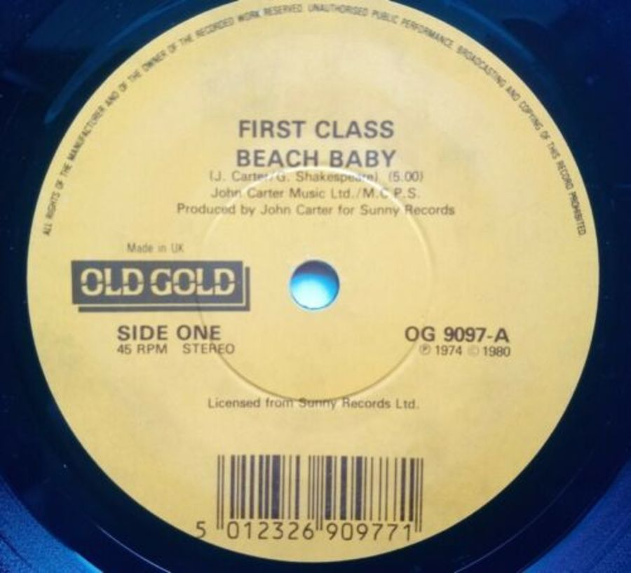 First Class - Beach Baby - Vinyl Record 7
