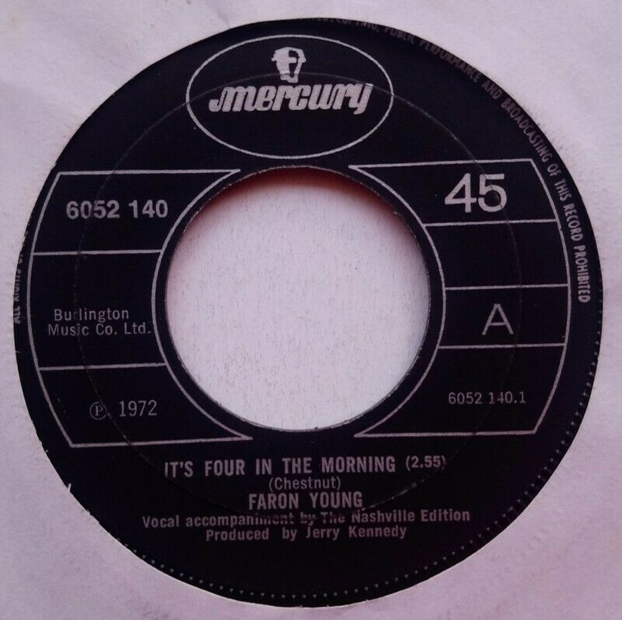 Faron Young- It's Four In The Morning - Vinyl Record 7