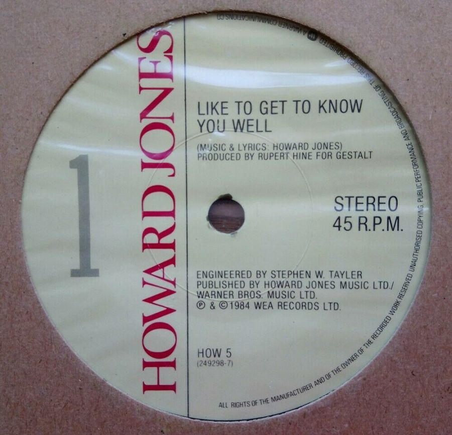 Howard Jones - Like To Get To Know You Well - Vinyl Record 7