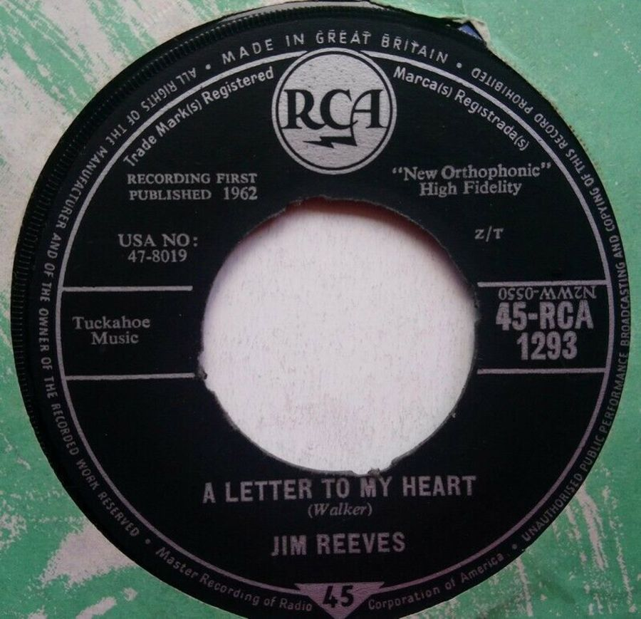 Jim Reeves - A Letter To My Heart - Vinyl Record 7