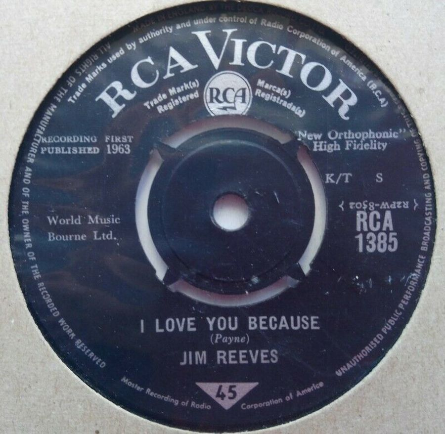 Jim Reeves - I Love You Because - Vinyl Record 7