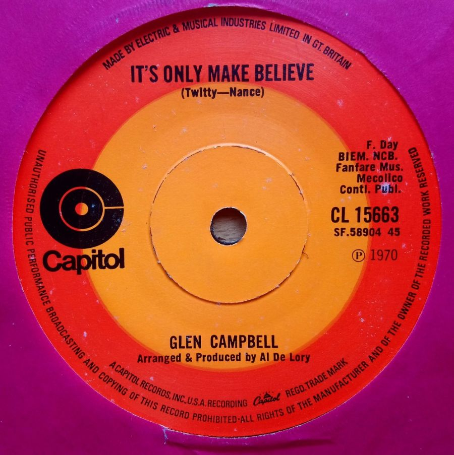 Glen Campbell - It's Only Make Believe - Vinyl Record 7