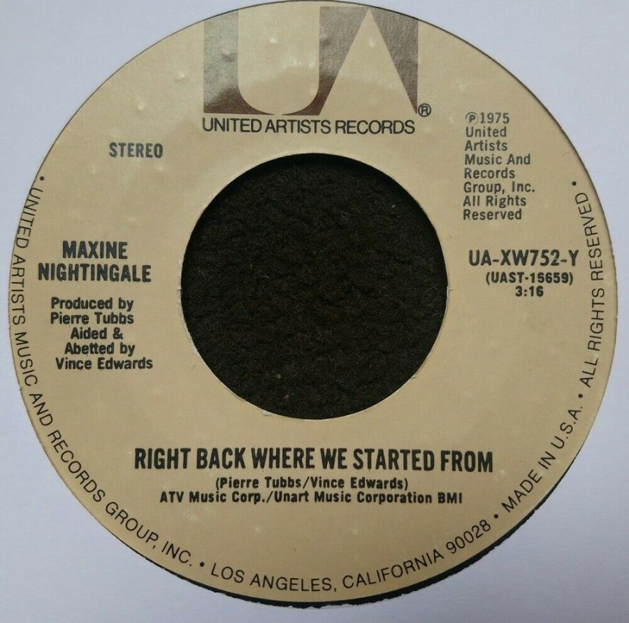 Maxine Nightingale - Right Back Where We Started From - Vinyl Record 7